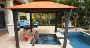 waterproof gazebo paragon-outdoor 10 ft. x 10 ft. gazebo with rust sunbrella canopy IJWUFPE