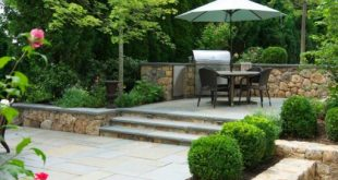 wellesley, ma - tiered stone patio with grill and boxwoods, landscape design ZDDHLXS