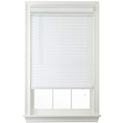 white blinds 2 faux wood horizontal blinds - white ... TFBXWEZ