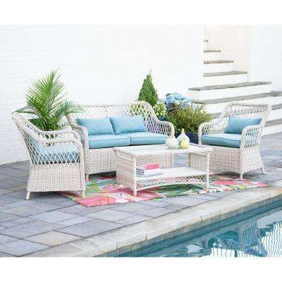 white patio furniture lakeland 4-piece wicker patio conversation set with spa blue cushions ROJXDMT