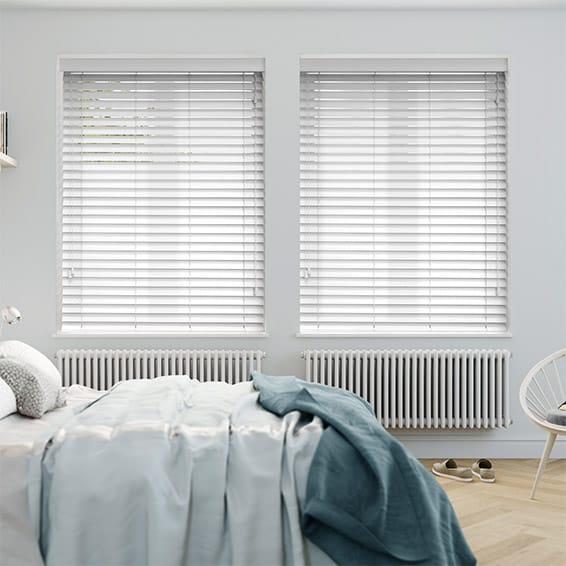 white venetian blinds bright white wooden blind - 50mm slat BEZNTIA