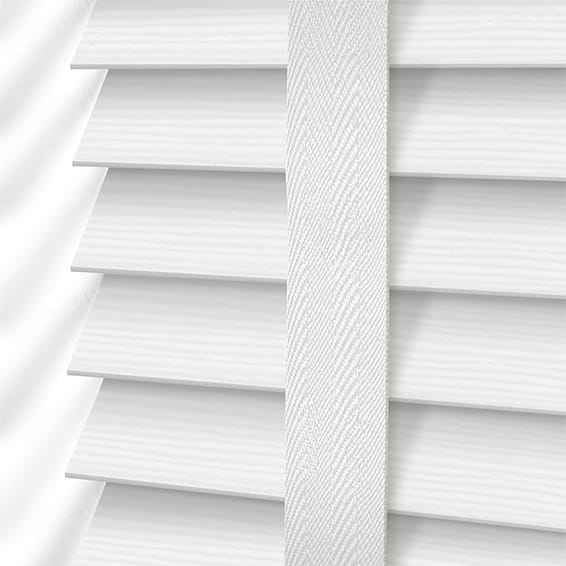 white wooden blinds arctic white u0026 white faux wood blind - 50mm slat OAMMKLJ