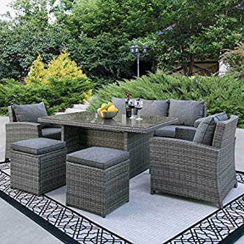 wicker patio set best choice products complete outdoor living patio furniture 6-piece wicker  dining RJHDKKM