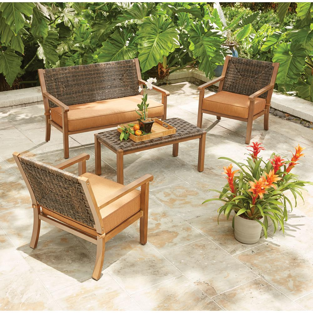 wicker patio set hampton bay kapolei 4-piece wicker patio conversation set with reddish  brown QKAQSTY
