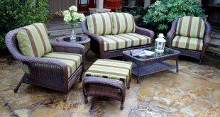 wicker patio set ... landry stripe malt fabric / java wicker ... MNUORBP
