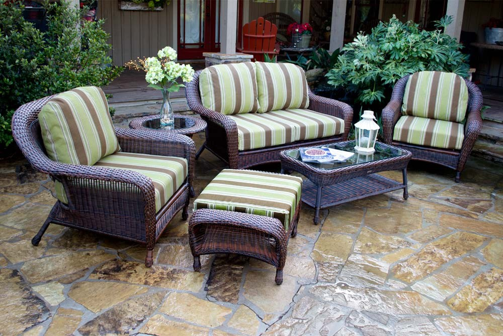wicker patio set ... landry stripe malt fabric / java wicker ... MNUORBP