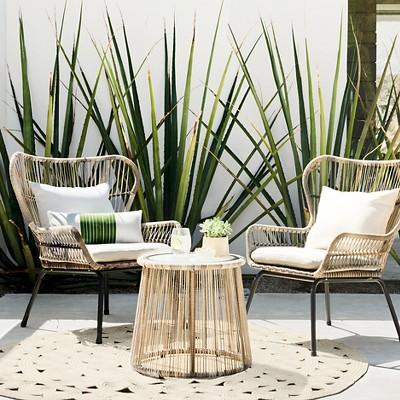 wicker patio set latigo 3pc all-weather wicker outdoor patio chat set - tan - threshold™ VBQLFTV