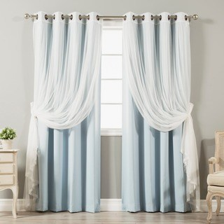 window drapes aurora home mix u0026 match tulle lace 4-piece blackout curtain panel set ODEYCDE