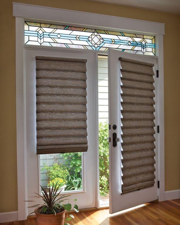 window treatments for french doors roman shade on french door with stained glass | french doors | LGBQBNT