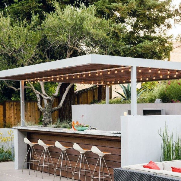 wood and steel outdoor bar ideas EMVIQTO