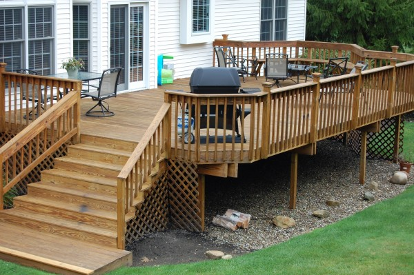 wood decks a custom wood deck created by hoehnen landscaping near cleveland, ... JHKLEDW