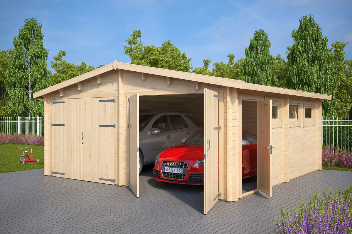 wooden double garage e with double doors ZGWAUUN