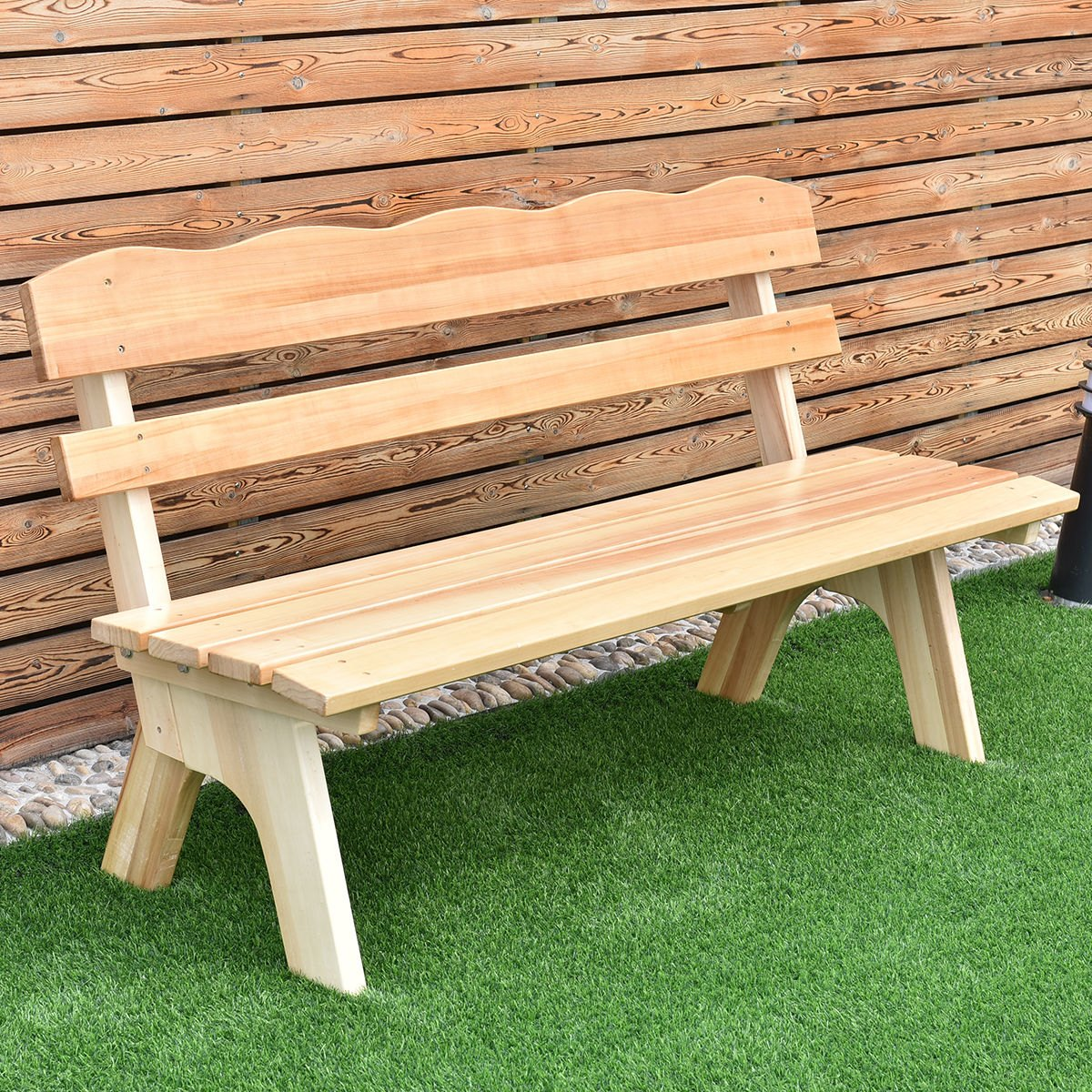wooden garden benches costway 5 ft 3 seats outdoor wooden garden bench chair wood frame AOLGSBB