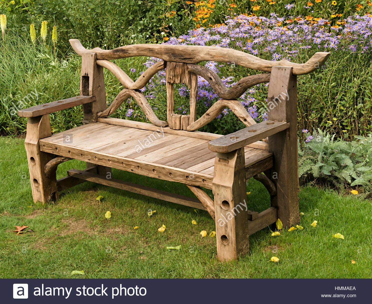 wooden garden benches ornate, rustic, wooden garden bench seat made from recycled wooden parts, DQGLMEG