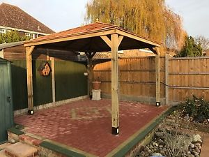 wooden gazebo image is loading 2-5m-wooden-gazebo-hottub-shelter-with-cedar- DKNGLVD