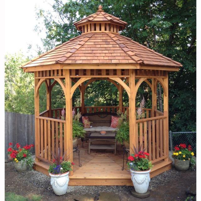 wooden gazebo round patio backyard outdoor pavilion garden house yard  hardtop LMRZFEI