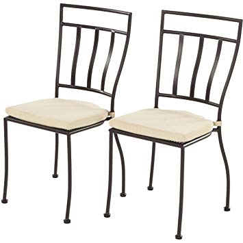 wrought iron chairs amazon.com : alfresco home semplice wrought iron bistro chairs with natural QKLJBIK