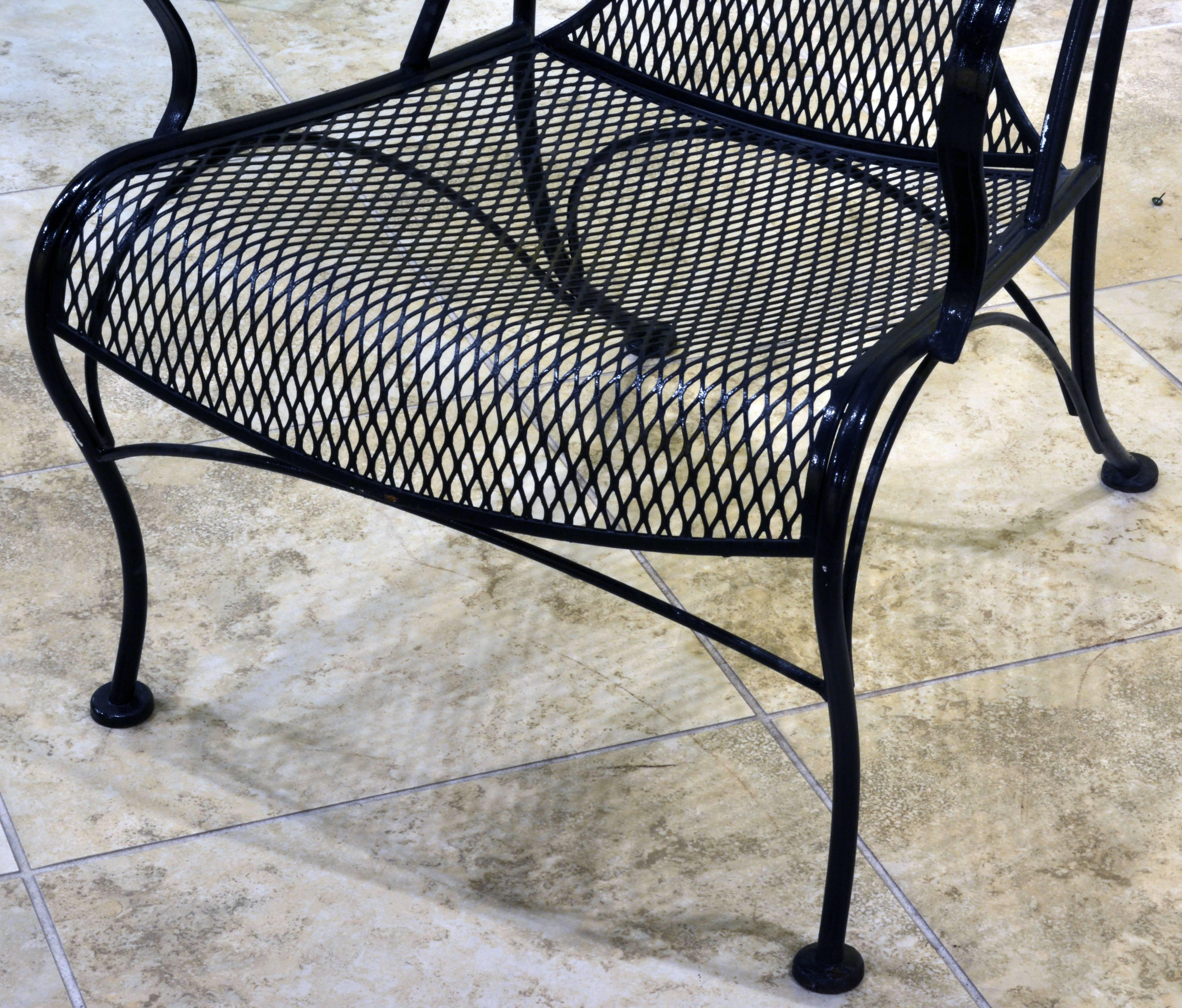 wrought iron chairs pair of woodard mid-century hollywood regency wrought iron and mesh patio XZCAWFF