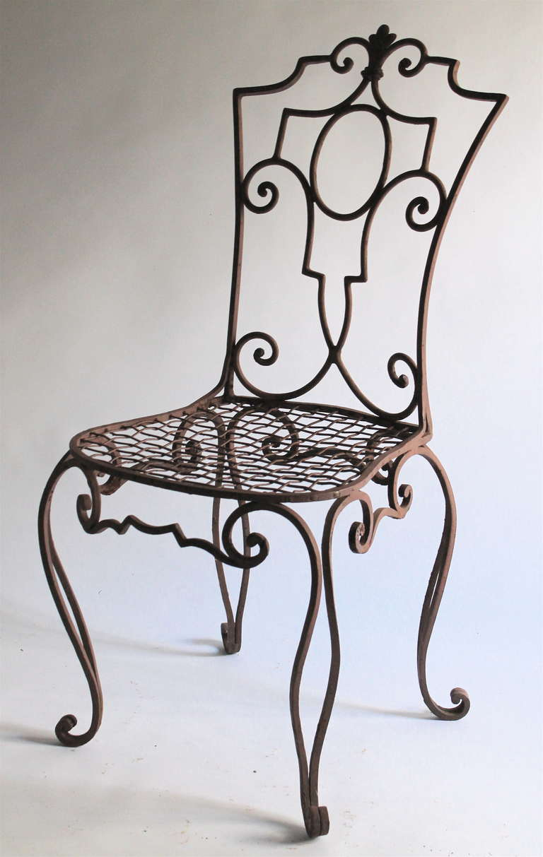 wrought iron furniture art deco jean-charles moreux painted wrought iron chairs set of 6 for HVJFZCX