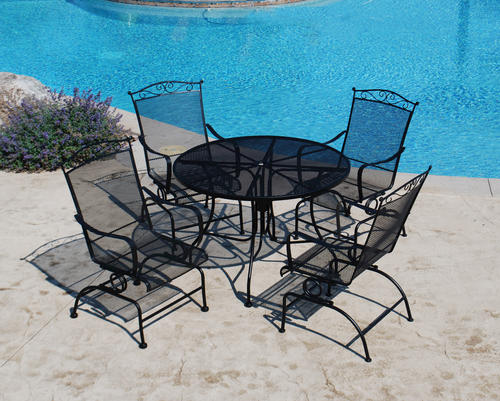 wrought iron patio set backyard creations® wrought iron 5-piece dining patio set at menards® SKXIRED