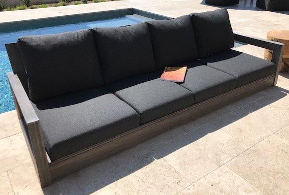 yandell teak outdoor sofa with cushions | allmodern NSPSKOO