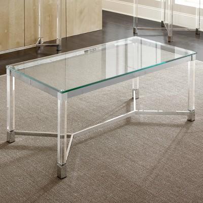 Talia Cocktail Table Glass Acrylic And Chrome - Steve Silver : Target