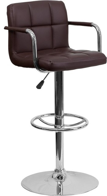 Estella Mid-Back Brown Quilted Vinyl Adjustable Barstool With Arms