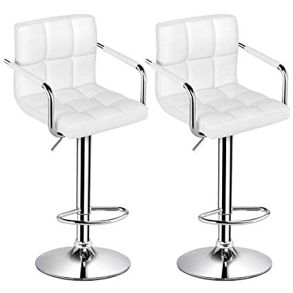 Amazon.com: Yaheetech Tall Bar Stools Set of 2 Modern Square PU