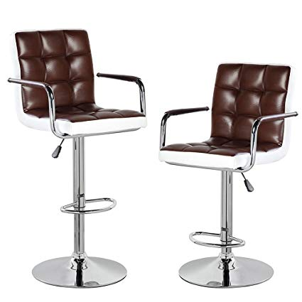 Amazon.com: Modern Contemporary Leather Swivel Adjustable Height Bar