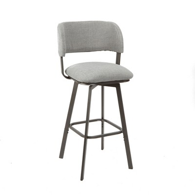 Adler Upholstered Metal Adjustable Swivel Barstool With Open Curved