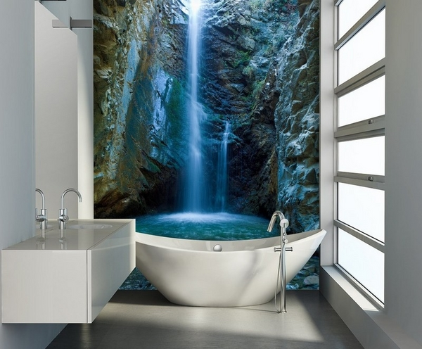 50 Small bathroom decoration ideas u2013 photo wallpaper as wall decor