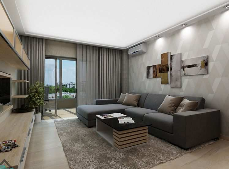 Grey Theme Color Apartment Livingroom Design with Air Conditioning