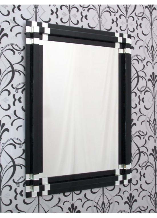 Large Rectangular Modern Block Black Glass Wall Mirror