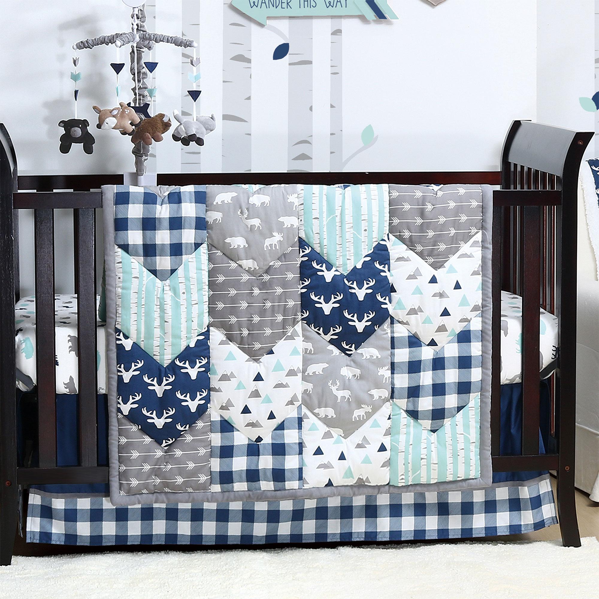 Woodland Trail 6 Piece Baby Boy Crib Bedding Set Mountain Moose