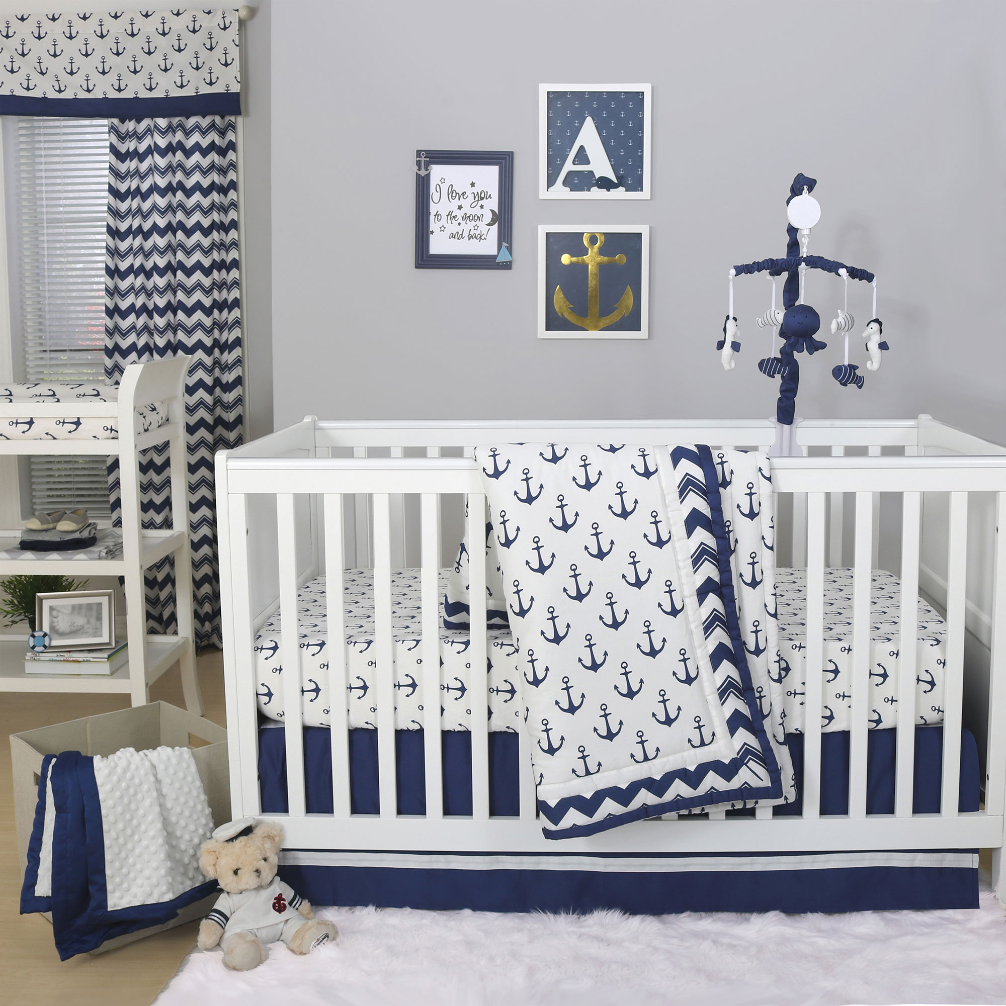 Anchor Nautical 4 Piece Baby Boy Crib Bedding Set in Navy Blue by