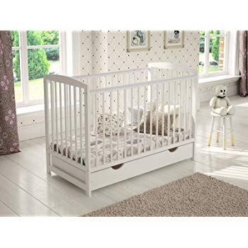 White Wooden Baby Cot with Drawer 120x60cm + Foam Mattress + Safety