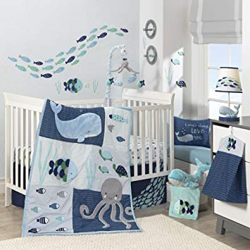 Amazon.com : Lambs & Ivy Oceania 6-Piece Baby Crib Bedding Set