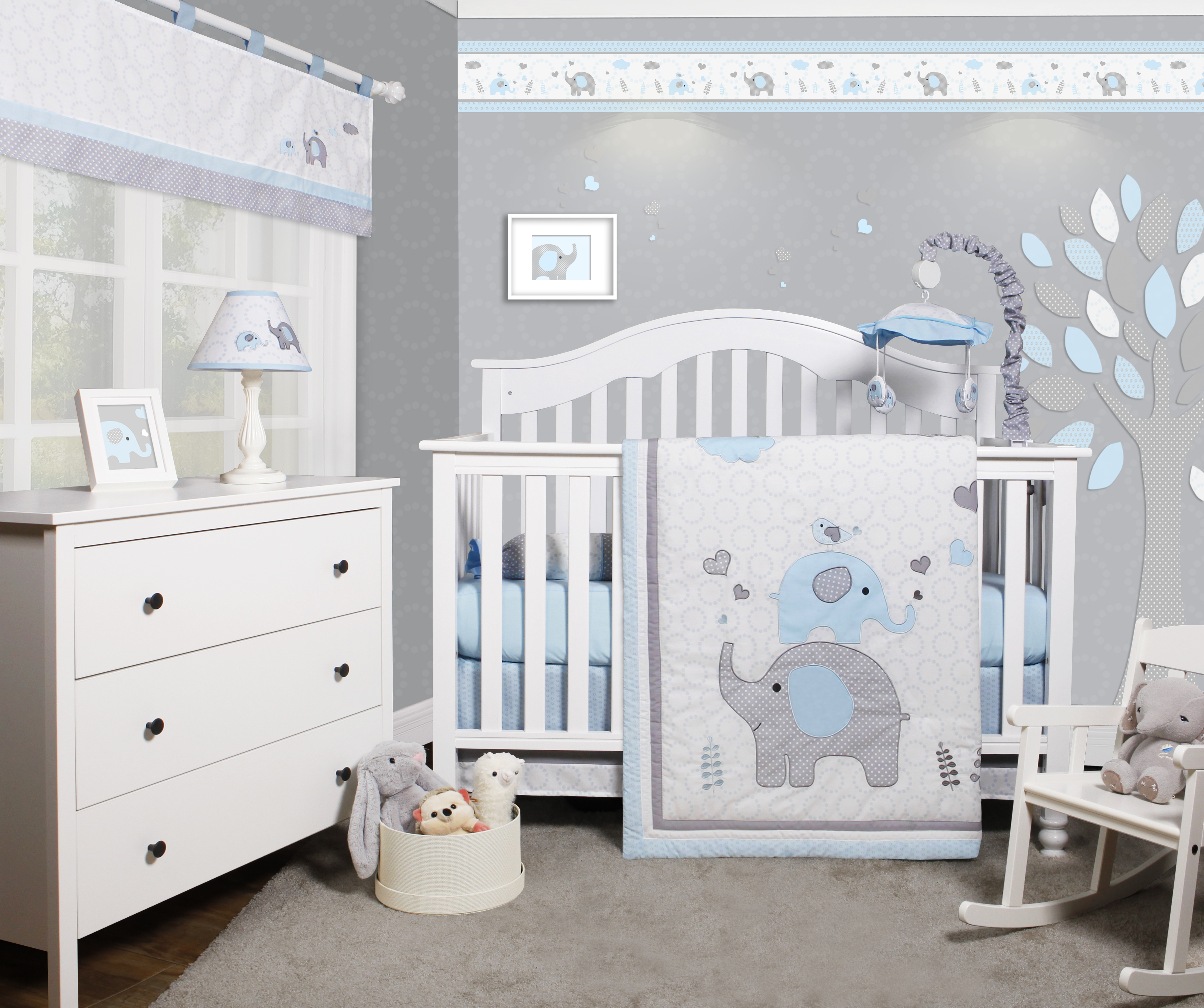OptimaBaby Blue Grey Elephant 6 Piece Baby Nursery Crib Bedding Set