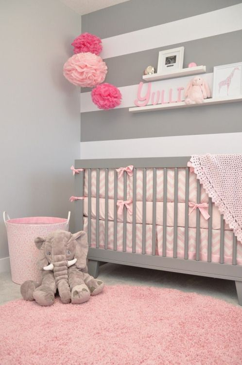 pink and grey elephant girly nursery ideas. how sweet is this gray