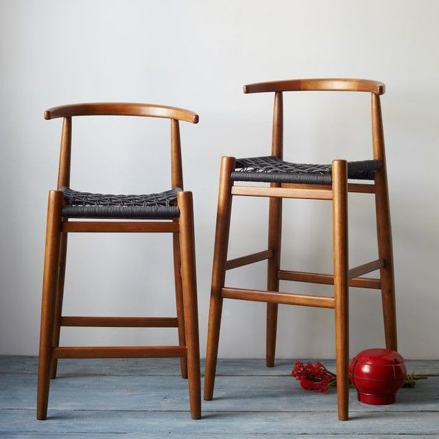 Breathtaking Wooden Counter Stool With Wicker Rope Stool Seats Also