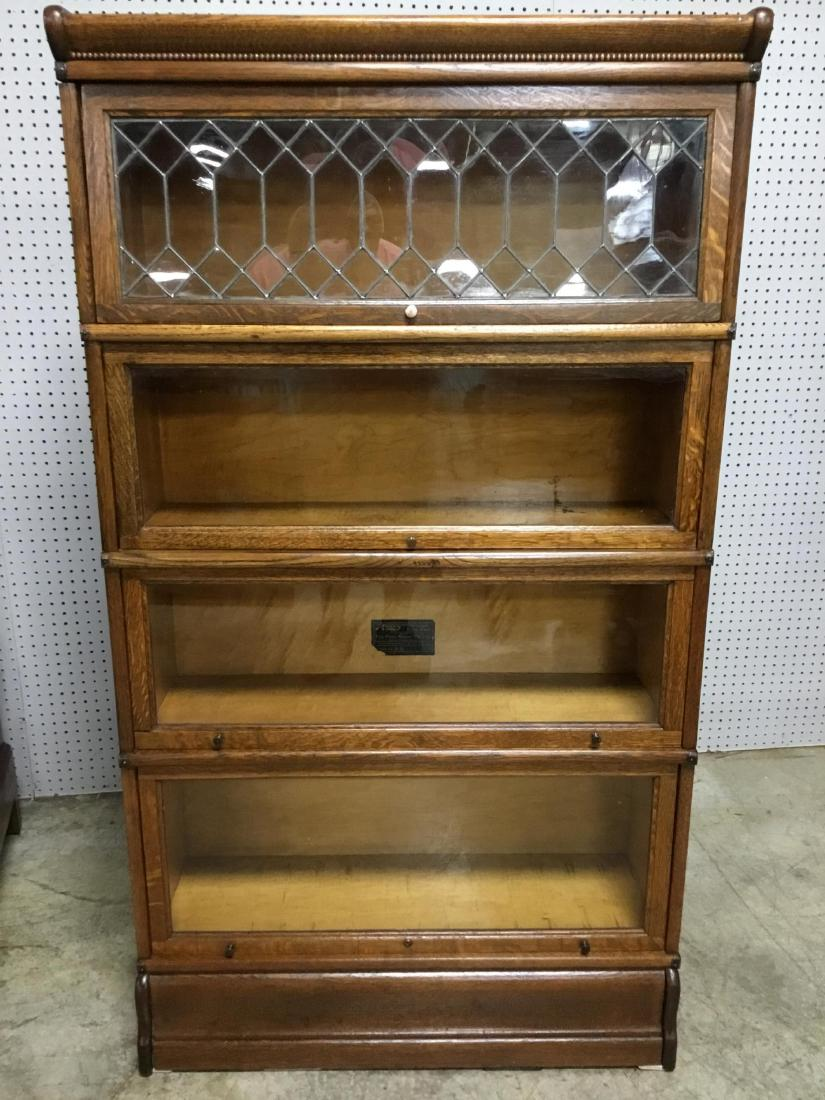 Solid Oak 4 Stack Leaded Glass Barrister Bookcase