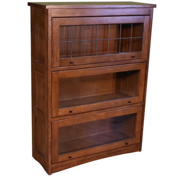 Mission Craftsman Style Oak Barrister Bookcase - 3 Stack