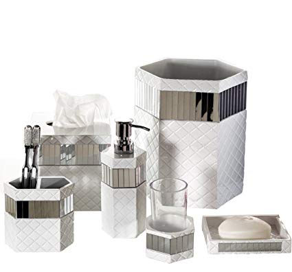 Amazon.com: Creative Scents Quilted Mirror Bathroom Accessories Set