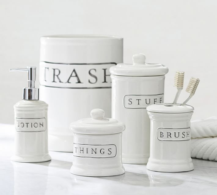 Ceramic Text Bath Accessories | Pottery Barn