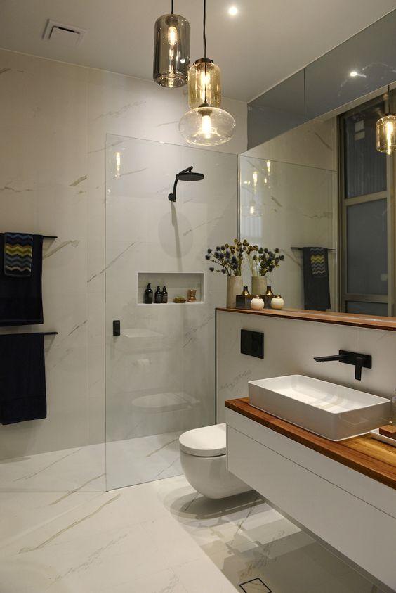 27 Creative Modern Bathroom Lights Ideas You'll Love | Bathroom