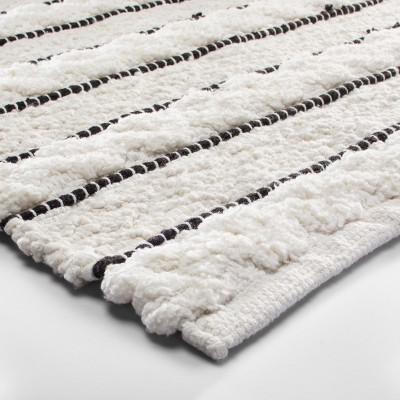 Striped Bath Rug White/Black - Opalhouse™ : Target