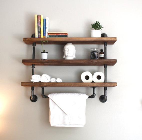 Industrial pipe shelf Bathroom shelves Kitchen shelves   Etsy