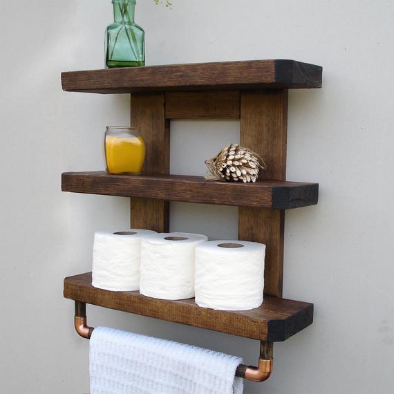 Bathroom Shelf Bathroom Shelves Wood Bathroom Shelf Rustic   Etsy
