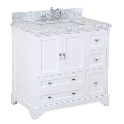 Madison 36-inch Bathroom Vanity (Carrara/White): Includes Italian