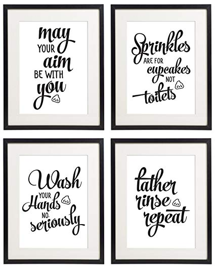Amazon.com: IDIOPIX Bathroom Wall Art Quotes and Sayings Prints Set